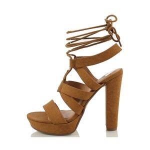 Tan Open Toe Strappy Lace Up Ankle Tie Heel